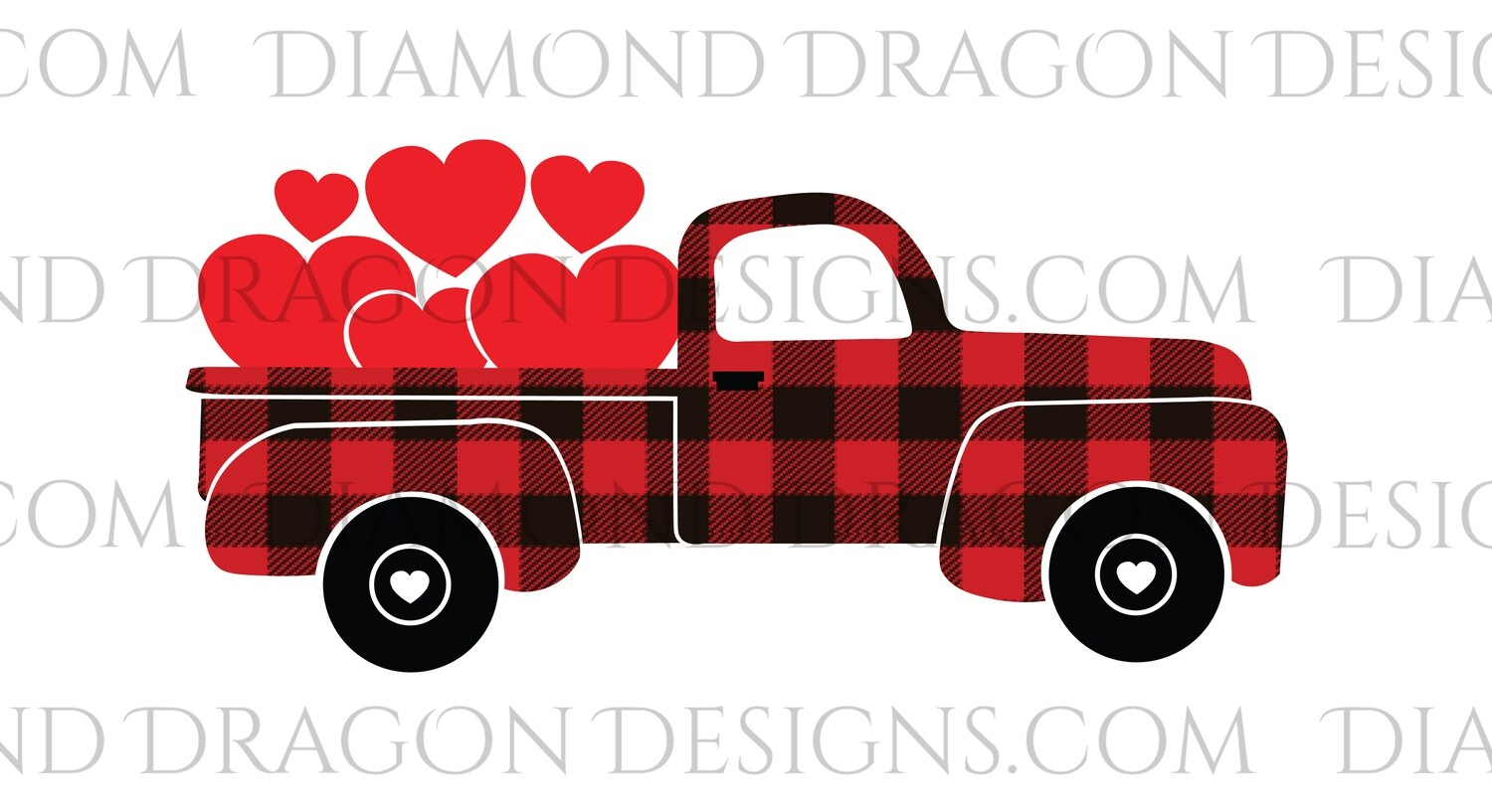 Valentines - Red Plaid Truck, Hearts, Classic, Vintage Truck, Waterslide