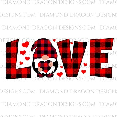 Valentines - Red Plaid, Love, Gnome, Waterslide