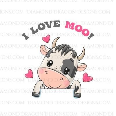 Valentines - Cute Cow, I Love Moo!, Valetines Cow, Waterslide