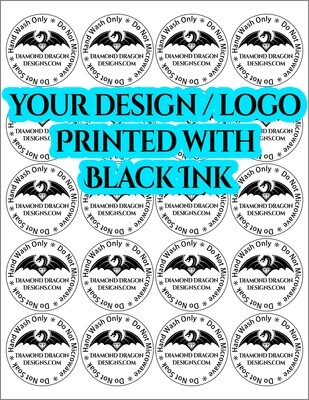 Full Page - 2'' Circle, BLACK INK, Clear STICKER, Care Instruction / Business Logo - 20 Clear Stickers