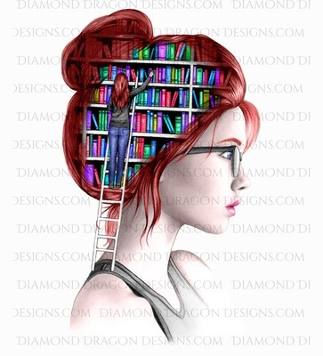 Books - Red head, Lady Library, Book Girl, Book Lover, Black and White, Digital Image