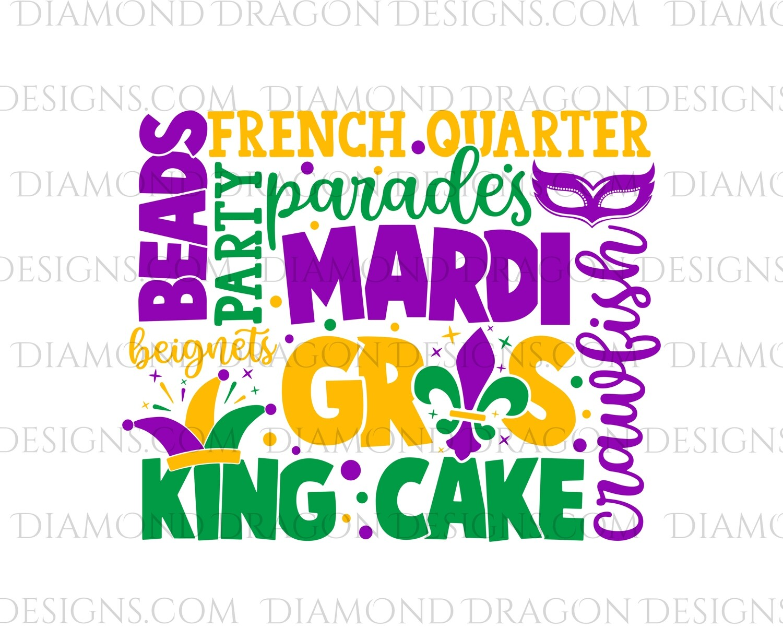 Mardi Gras - Mardi Gras Collage, King Cake, Purple, Green, Yellow - Waterslide Decal