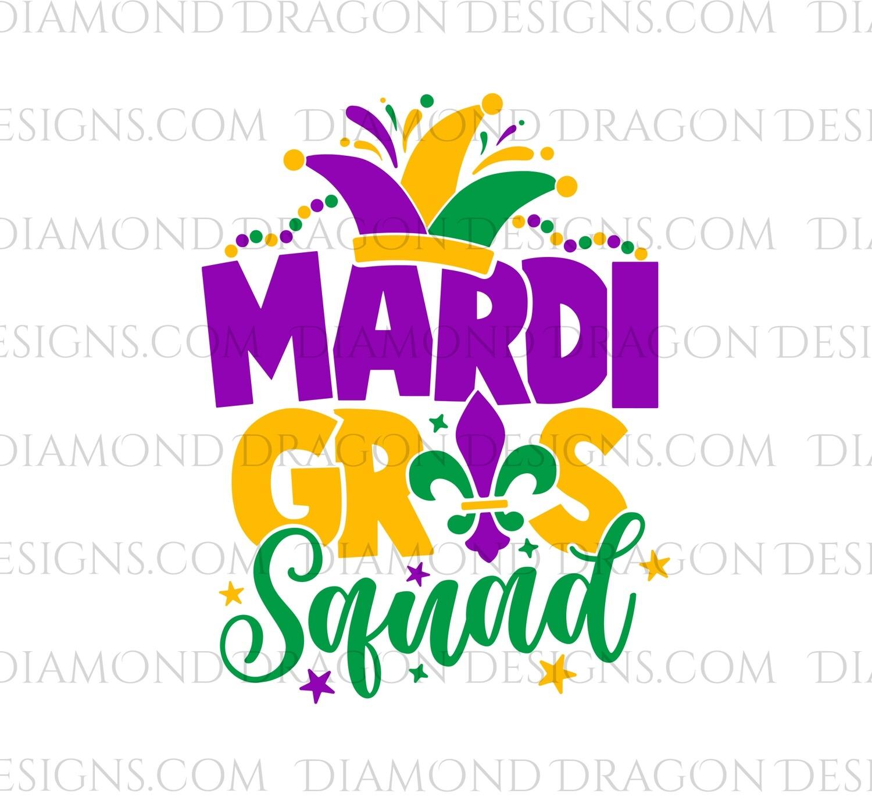 Mardi Gras - Mardi Gras Squad, Purple, Green, Yellow - Waterslide Decal
