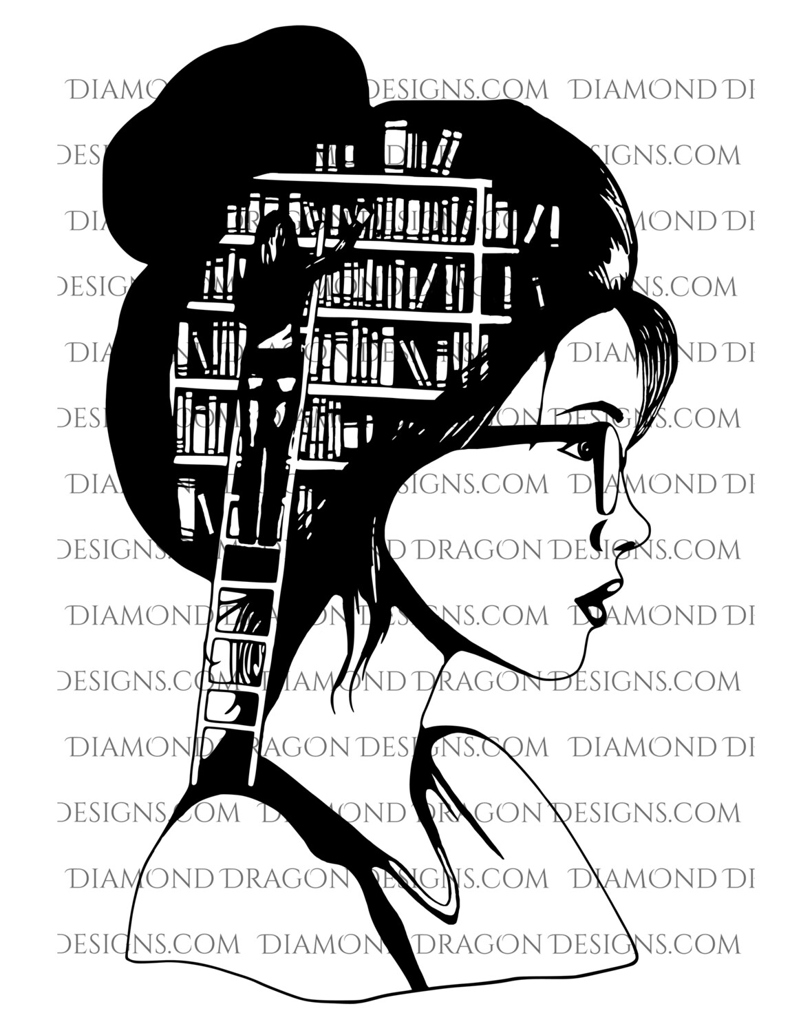 Books - SVG FILE! Lady Library, Book Girl, Book Lover, Black and White, SVG Digital Image