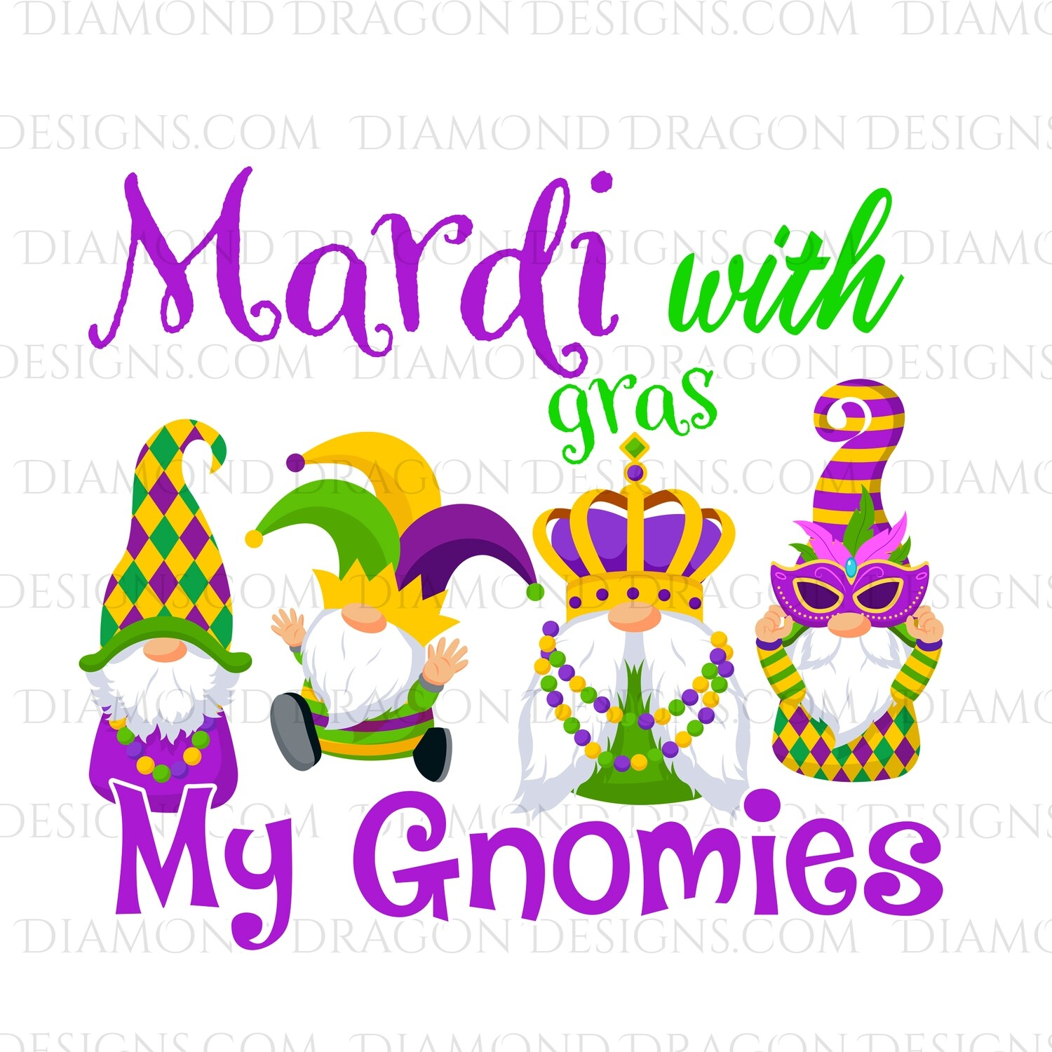 Mardi Gras - Mardi with my Gnomies - Waterslide Decal