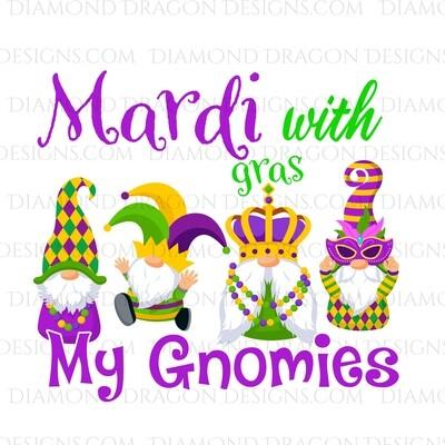 Mardi Gras - Mardi with my Gnomies - Waterslide Decal