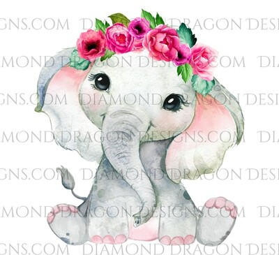 Animals - Cute Baby Girl Elephant, Elephant, Watercolor Flowers, Waterslide