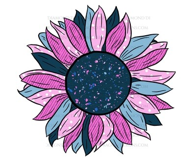 Flowers - Pink and Blue Rustic Sunflower, Waterslide
