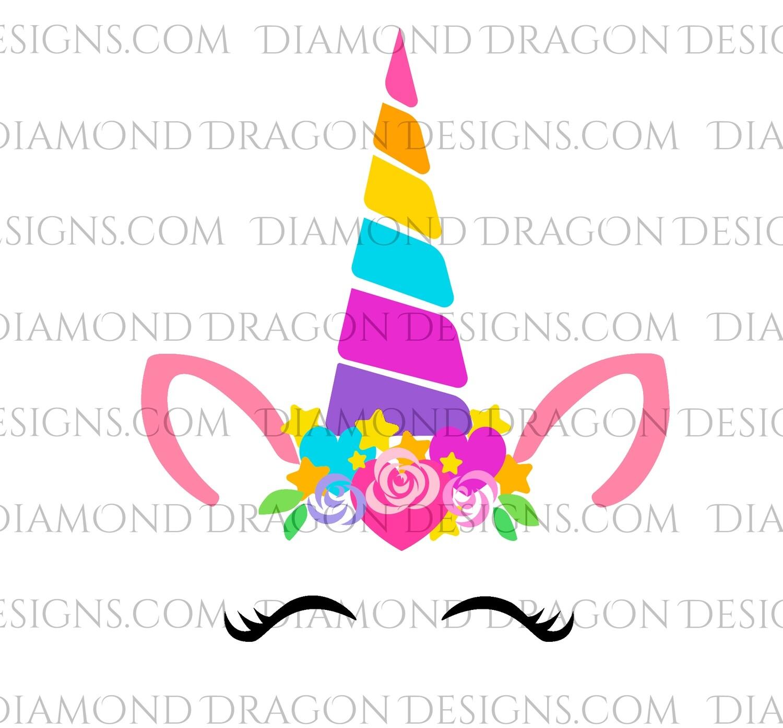 Unicorn -  Floral Rainbow Unicorn Face, Waterslide