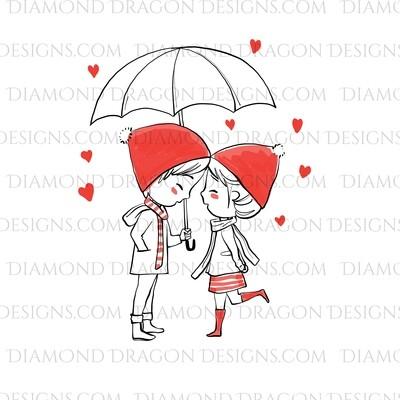 Valentines - Boy & Girl Valentine, Hearts, Umbrella, Cute, Waterslide