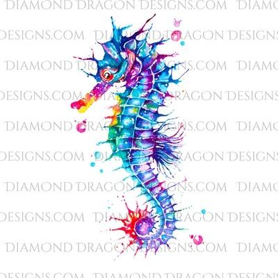 Seahorse - Watercolor, Rainbow Seahorse, Ocean Waterslide