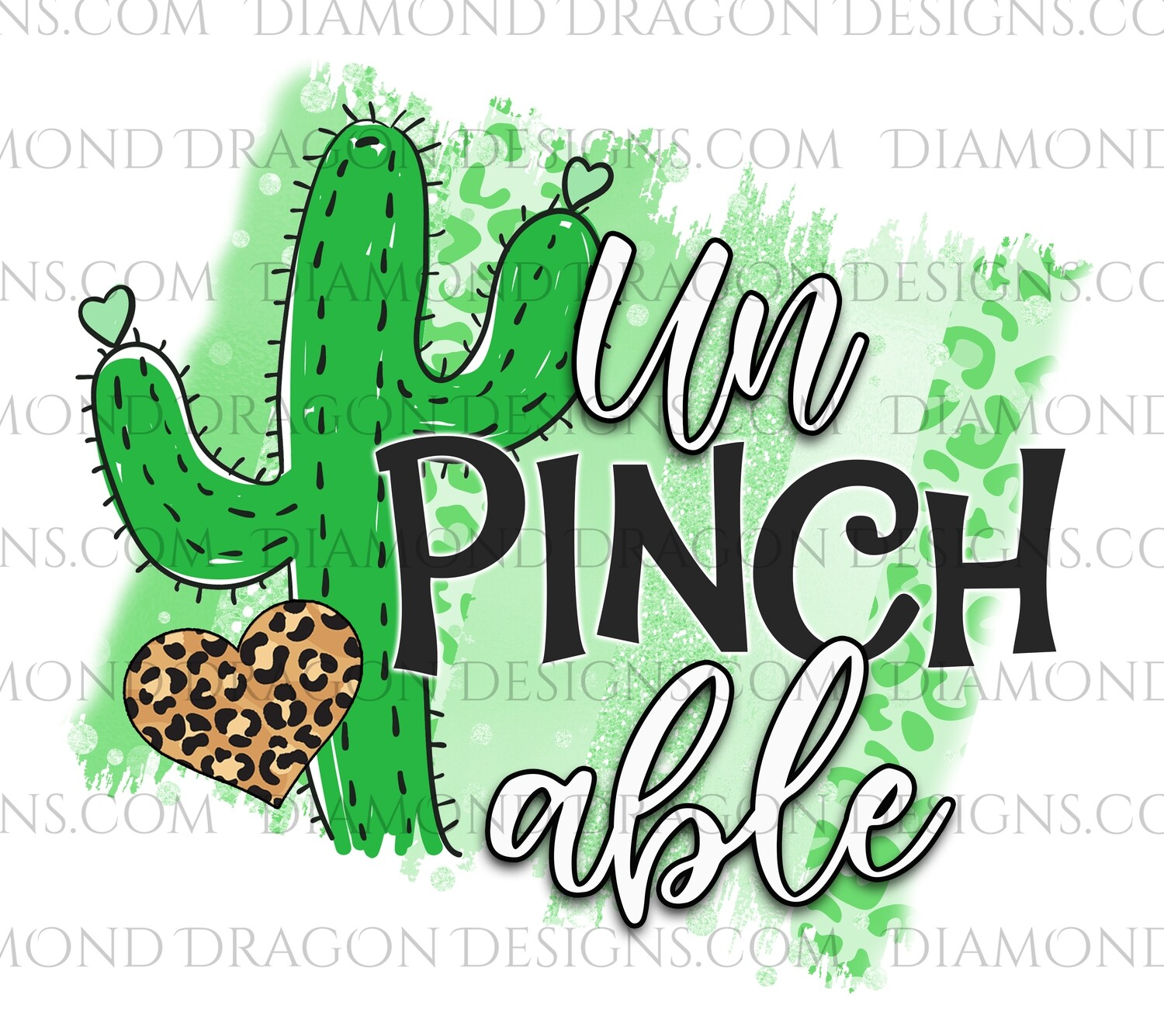 St. Patrick's Day - Cactus, Unpinchable, Leopard Heart, Waterslide Decal