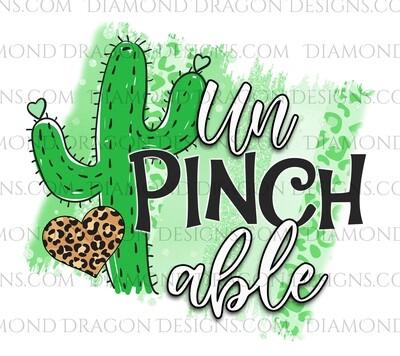 St. Patrick's Day - Cactus, Unpinchable, Leopard Heart, Waterslide Decal