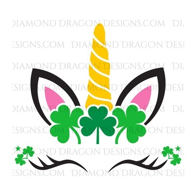 St. Patrick's Day - Cute Unicorn Face, Clover, Shamrock, Waterslide Decal