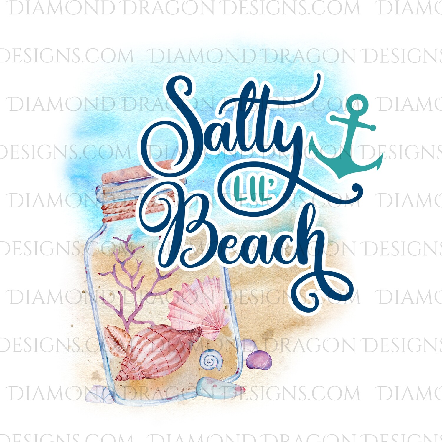 Beach - Salty Lil Beach, Watercolor, Beach, Quote, Waterslide