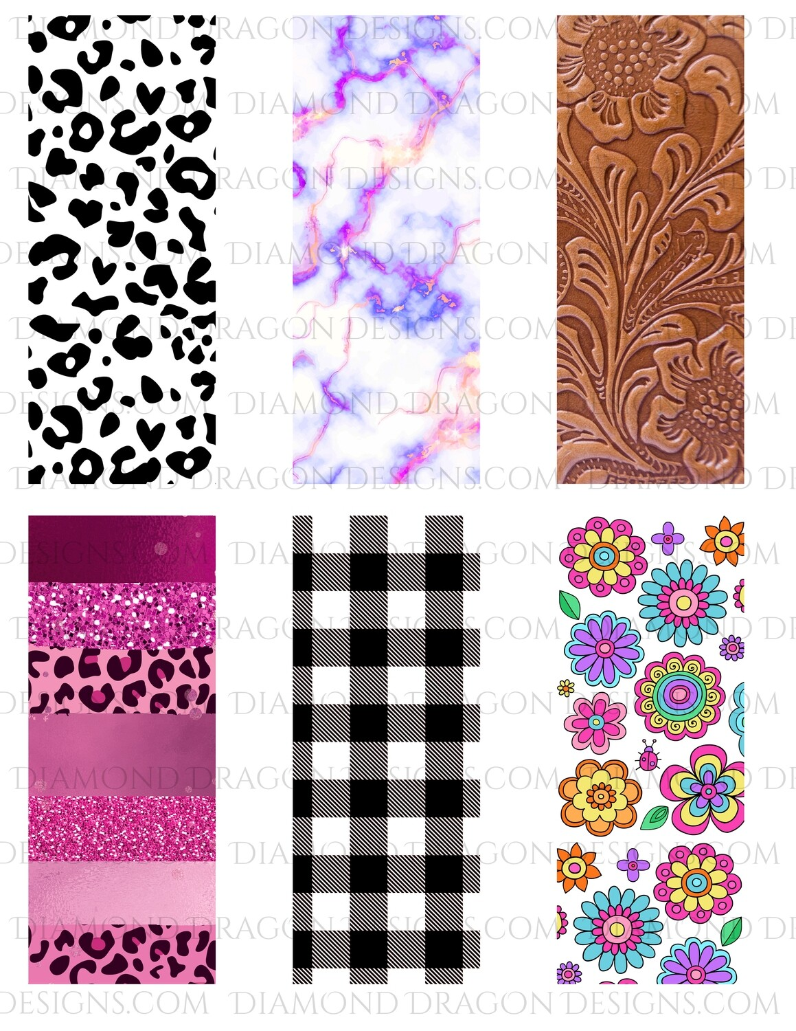 Pen Wraps -  Purple Gold Marble, Leather, Leopard, 6 designs, 2'' x 5'' Clear Waterslide for Pens - Waterslide