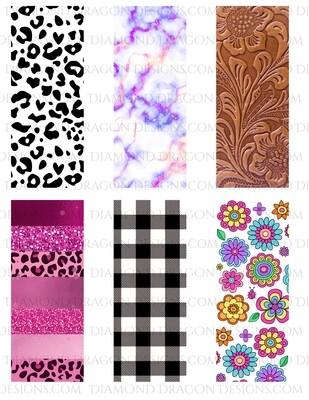 Pen Wraps -  Purple Gold Marble, Leather, Leopard, 6 designs, 2'' x 5'' Clear Waterslide for Pens - Waterslide