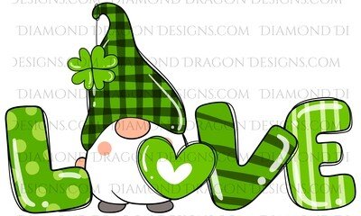 St. Patrick's Day - Love Gnome with Shamrock, Plaid - Waterslide Decal