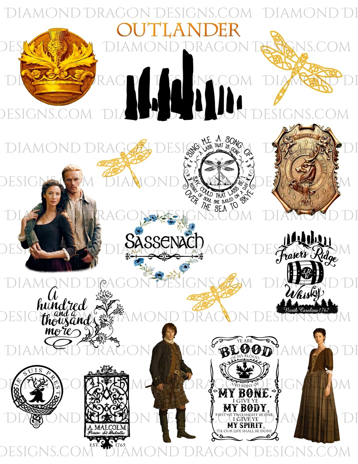 TV - Outlander TV Show Inspired, Collage, Full Page, Waterslide