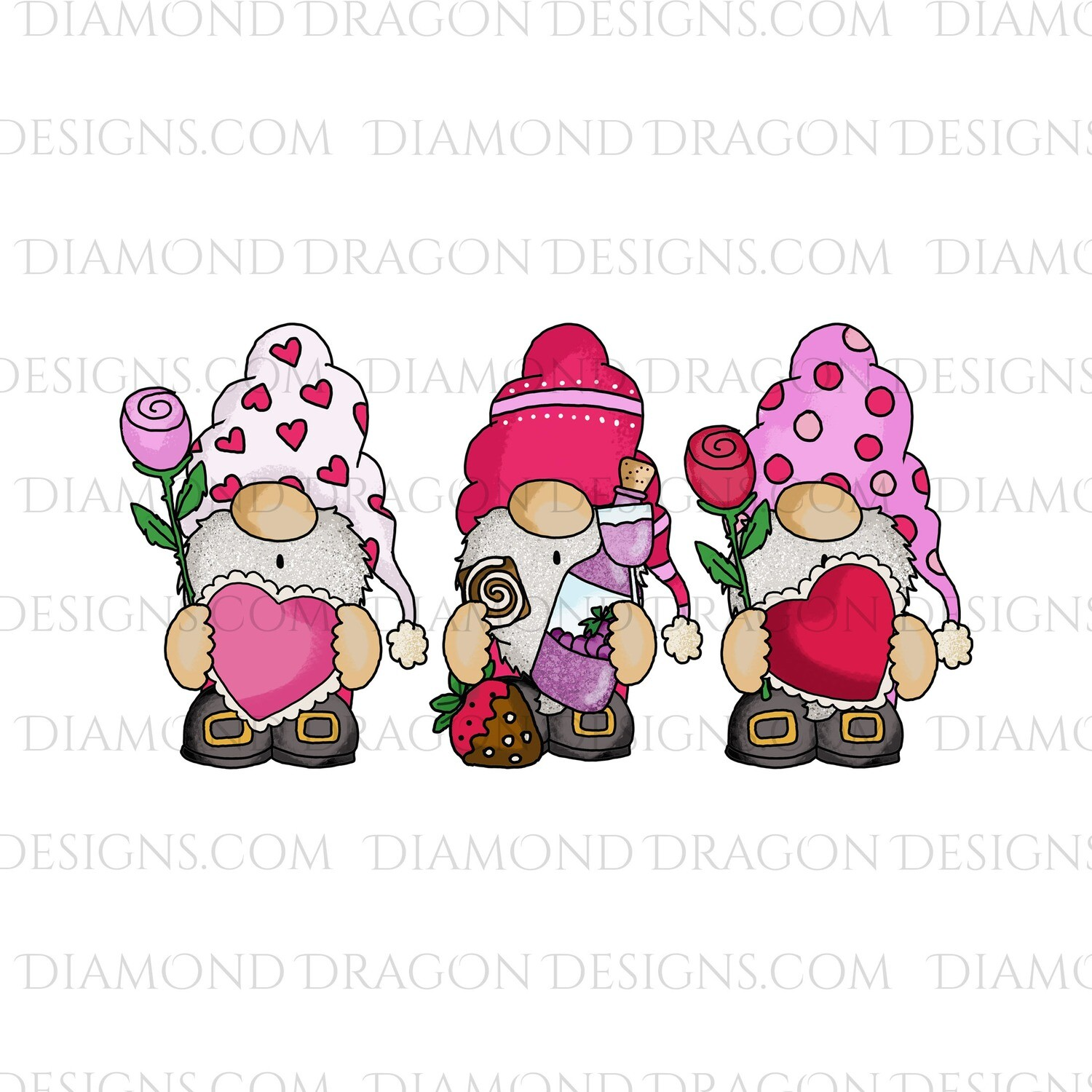 Valentines - Cute Heart, Gnomes, Waterslide