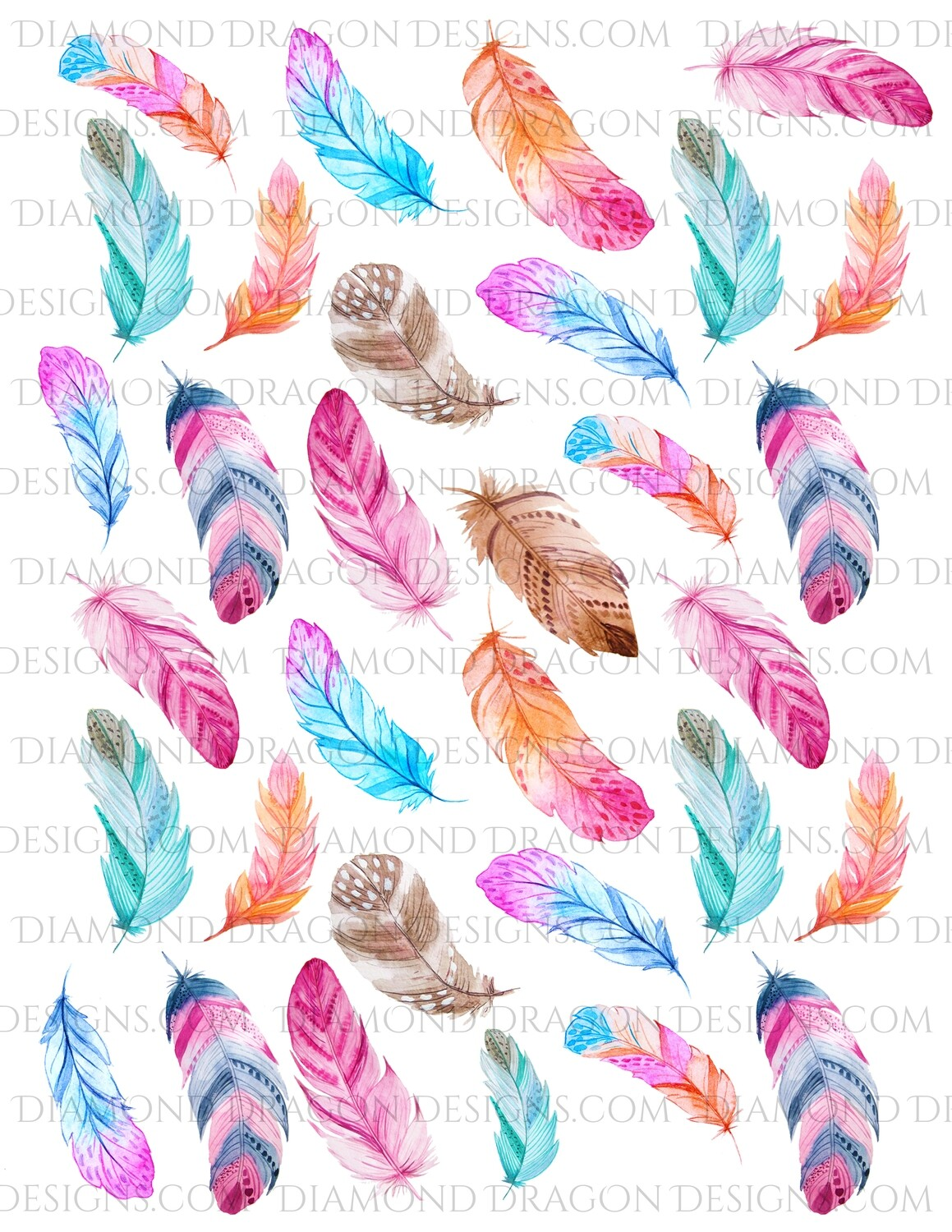 Full Page -  Watercolor Feathers, Colorful Feather, Full Page Design - Waterslide