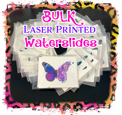 Bulk - For Suppliers with Subscription Boxes, Pre Packaged, Laser Printed Waterslides, 1 or 2 Designs ONLY - FREE SHIPPING