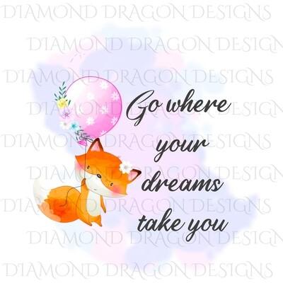 Animals - Cute Fox, Ballon, Go Where Your Dreams Take You, Digital Image