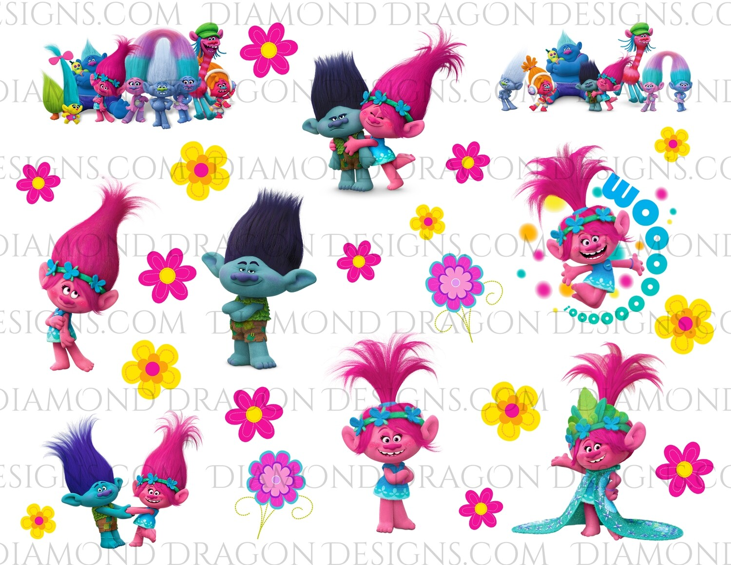 Movies - Trolls Inspired, Collage, Full Page, Waterslides