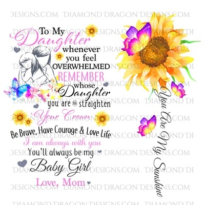 Moms - To My Daughter, You are My Sunshine, You'll Always Be My Baby, Sunflower Butterflies, Digital Image
