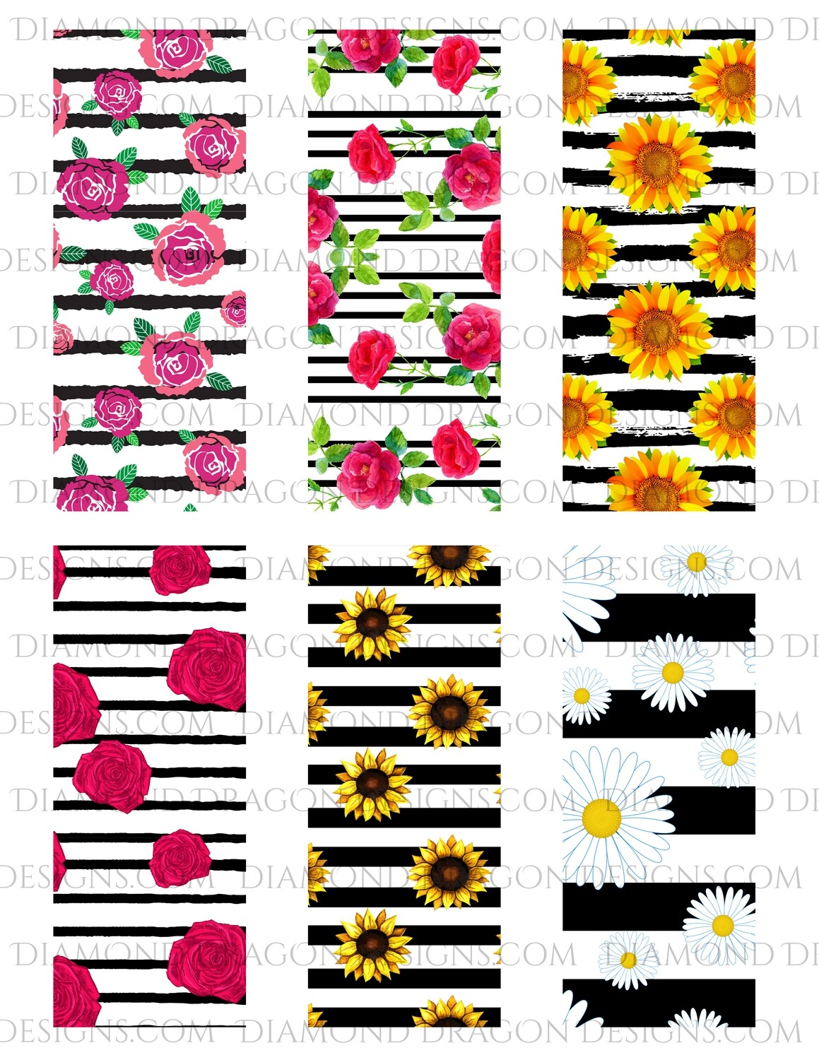 Pen Wraps -  Floral Stripe, Rose & Sunflower, 6 designs, 2'' x 5'' Clear Waterslide for Pens - Waterslide