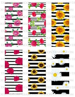 Pen Wraps -  Floral Stripe, Rose & Sunflower, 6 designs, 2'' x 5'' Clear Waterslide for Pens - Waterslide