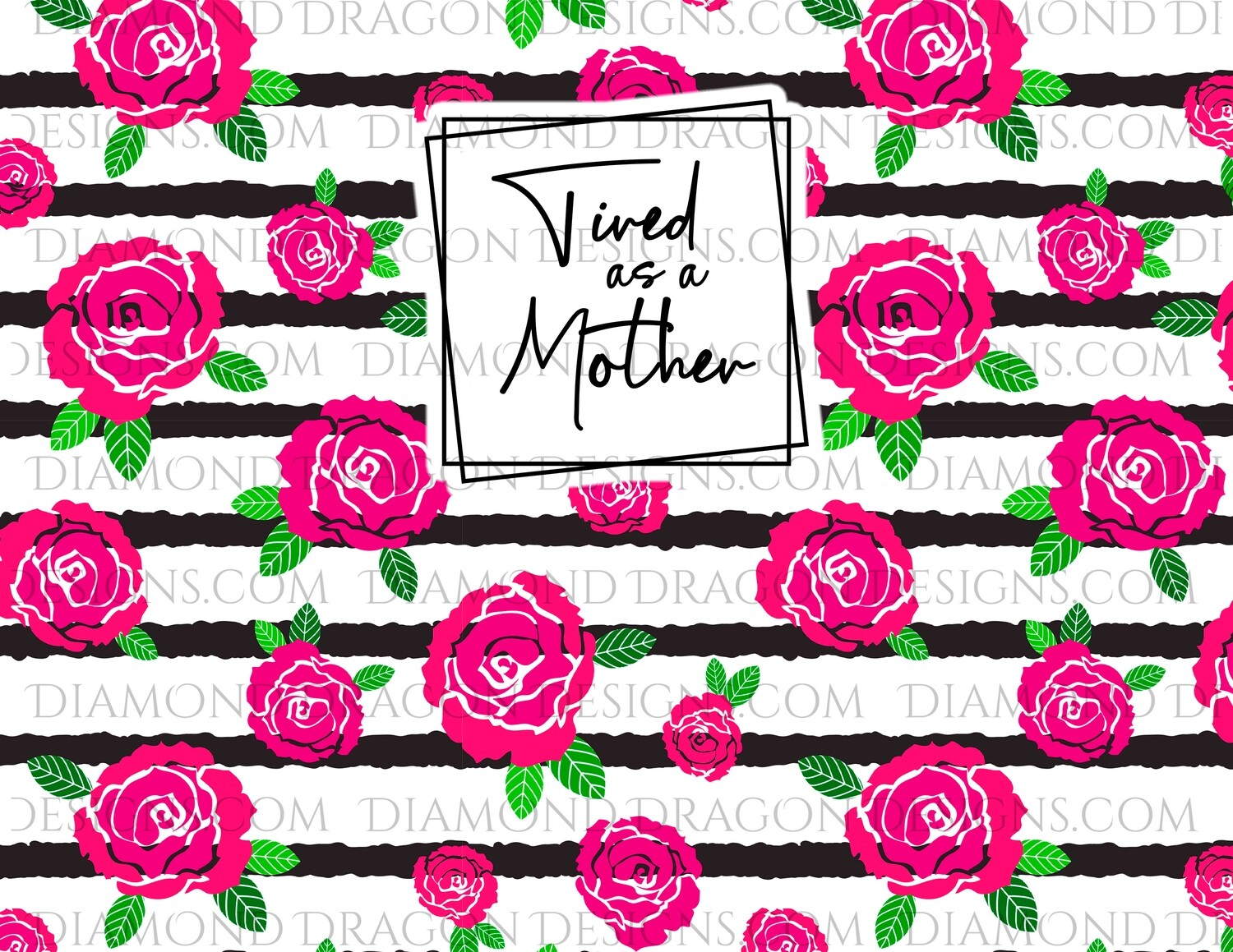 Full Page -  Floral Rose Stripe, Tired as a Mother, Full Page Wrap, 8.5'' x 11'', Digital Image