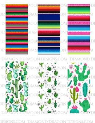 Pen Wraps -  Cactus, Serape, 6 designs, 2'' x 5'' Clear Waterslide for Pens - Waterslide