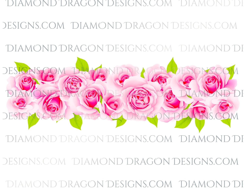 Flowers - Pink Rose Border, Digital Image