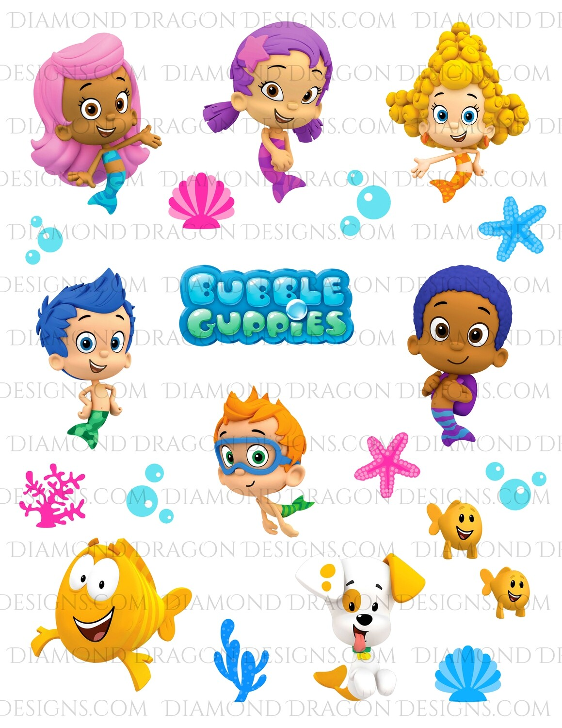 TV Shows - Bubble Guppies Inspired, Full Page, Waterslides