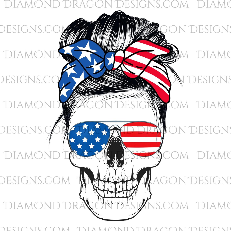 Skulls - Messy Bun, Patriotic Flag, Sunglasses, Bandana Skull, Digital Image