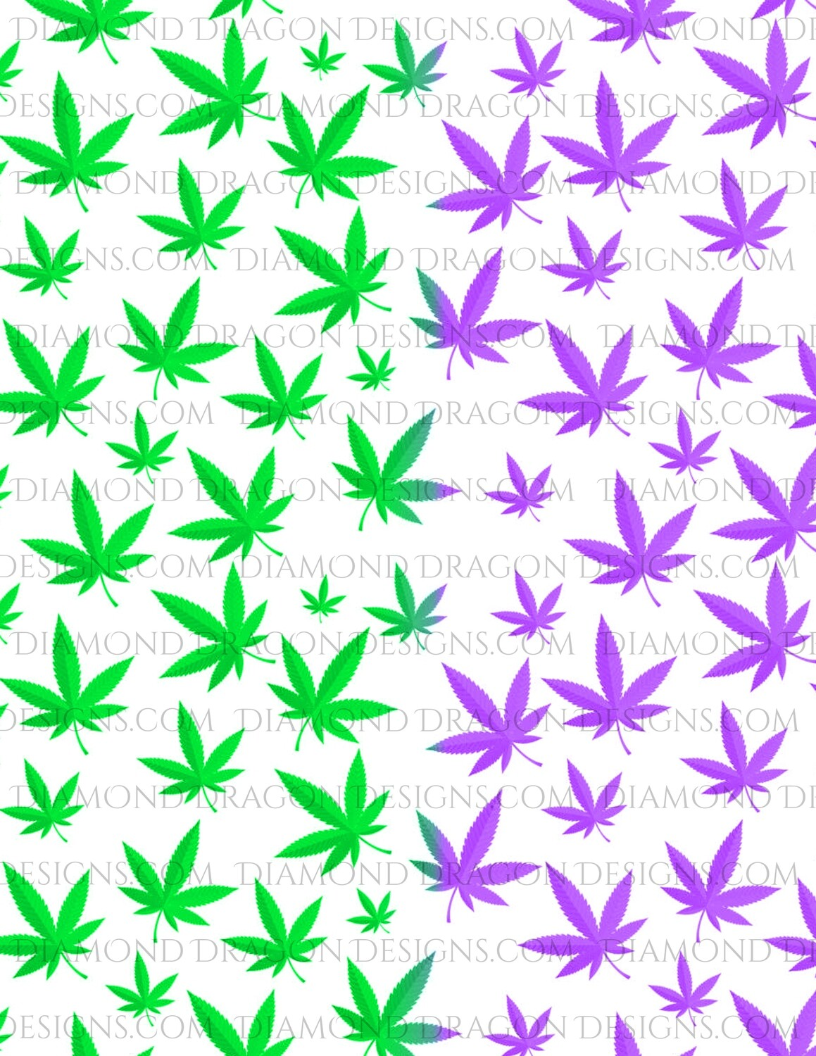 Full Page -  Pot Leaves, Green and Purple Weed Leaves, Full Page Design - Waterslide