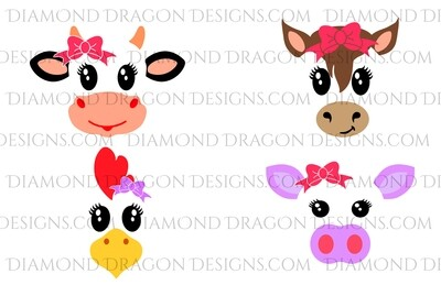 Animals - 4 Cute Barn Animal Faces Set, Waterslide