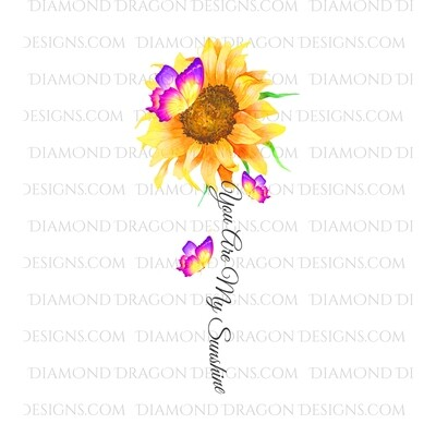 Sunflowers - * 6'' Tall * You are My Sunshine, Watercolor Sunflower Butterflies, Waterslide