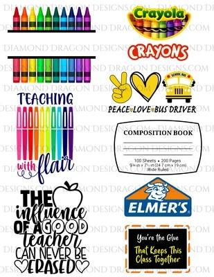 Bundle - 7 Teacher/School Appreciation, Laser Printed Waterslides, Discount Bundle