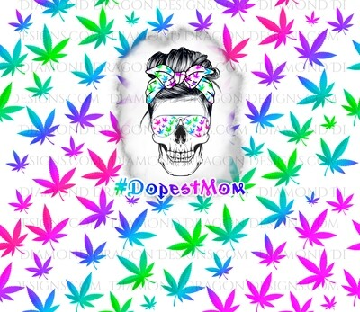 Tumbler Wrap File - Dopest Mom, 420, Rainbow Pot, Mom, Digital Image