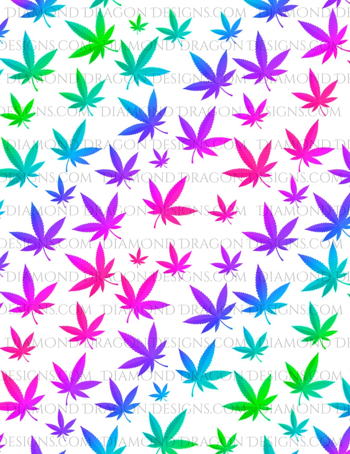 Full Page -  Pot Leaves, Rainbow Weed Leaves, Full Page Design - Waterslide