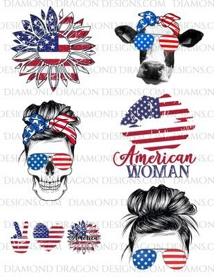 Bundle - 4th of July, Patriotic, America, Flag Bundle, Laser Printed Waterslides, Super Discount Bundle