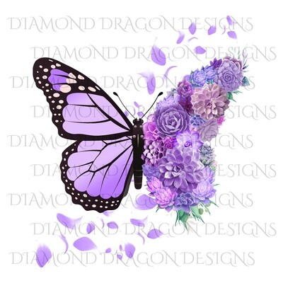 Butterfly - Succulent Floral, Mother's Day Design, Watercolor Mom Design, Purple Flower Butterfly, Digital Image