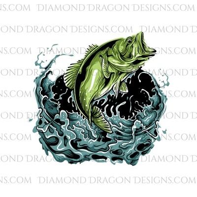Fishing - Bass Fish Jumping out of Water, Digital Image