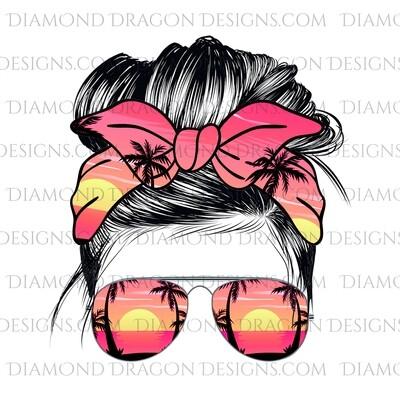Messy Bun - Beach, Sunset, Summer, Sunglasses, Bandana, Waterslide