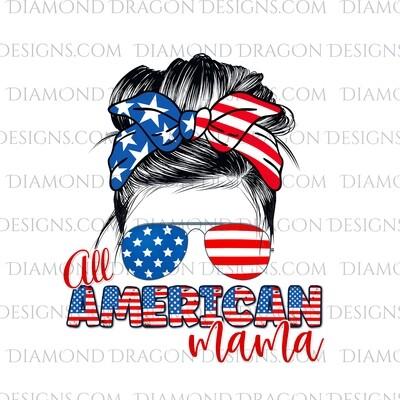 Messy Bun - Patriotic, USA, 4th of July, Summer, Sunglasses, Bandana, Waterslide