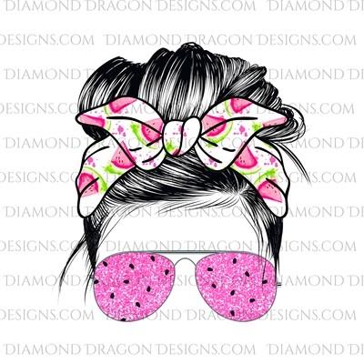 Messy Bun - Watermelon, Summer, Sunglasses, Bandana, Waterslide