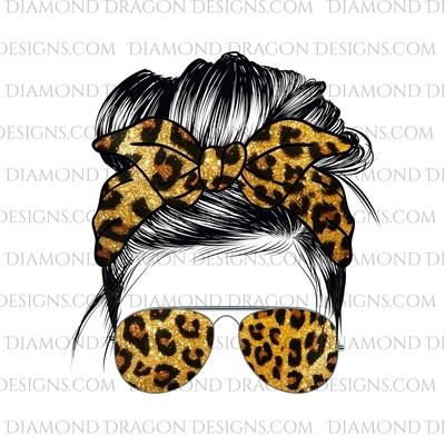 Messy Bun - Glitter Leopard, Sunglasses, Bandana, Waterslide