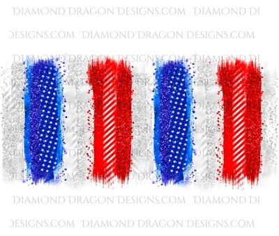Tumbler Wrap File - Patriotic, 4th of July, Red White Blue Burst, Digital Image